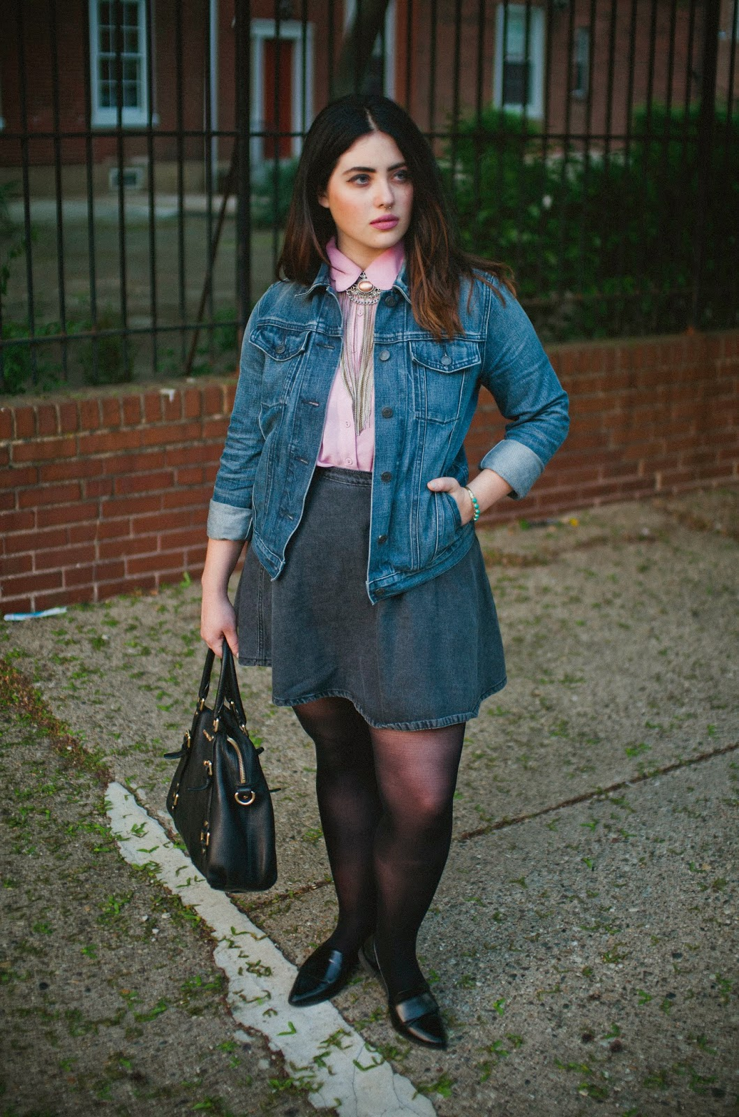 American Apparel, circle, skirt, pointed, loafers, street, style, pink, bolo, tie, punk