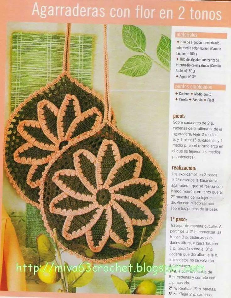 Agarraderas con flor en dos tonos tejidas al crochet - con explicación en español