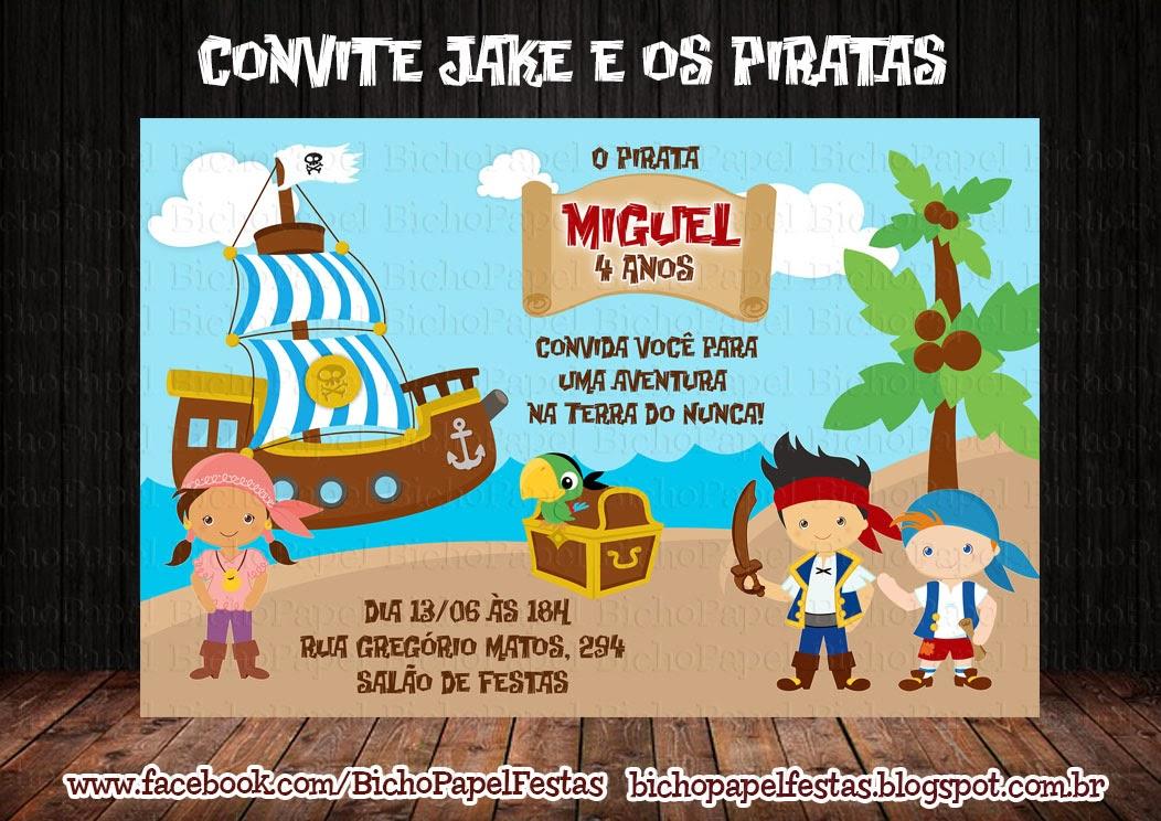 Arte Convite Jake e os Piratas