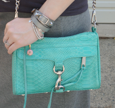 Rebecca Minkoff aquamarine mini MAC clutch bag balenciaga wrap bracelet
