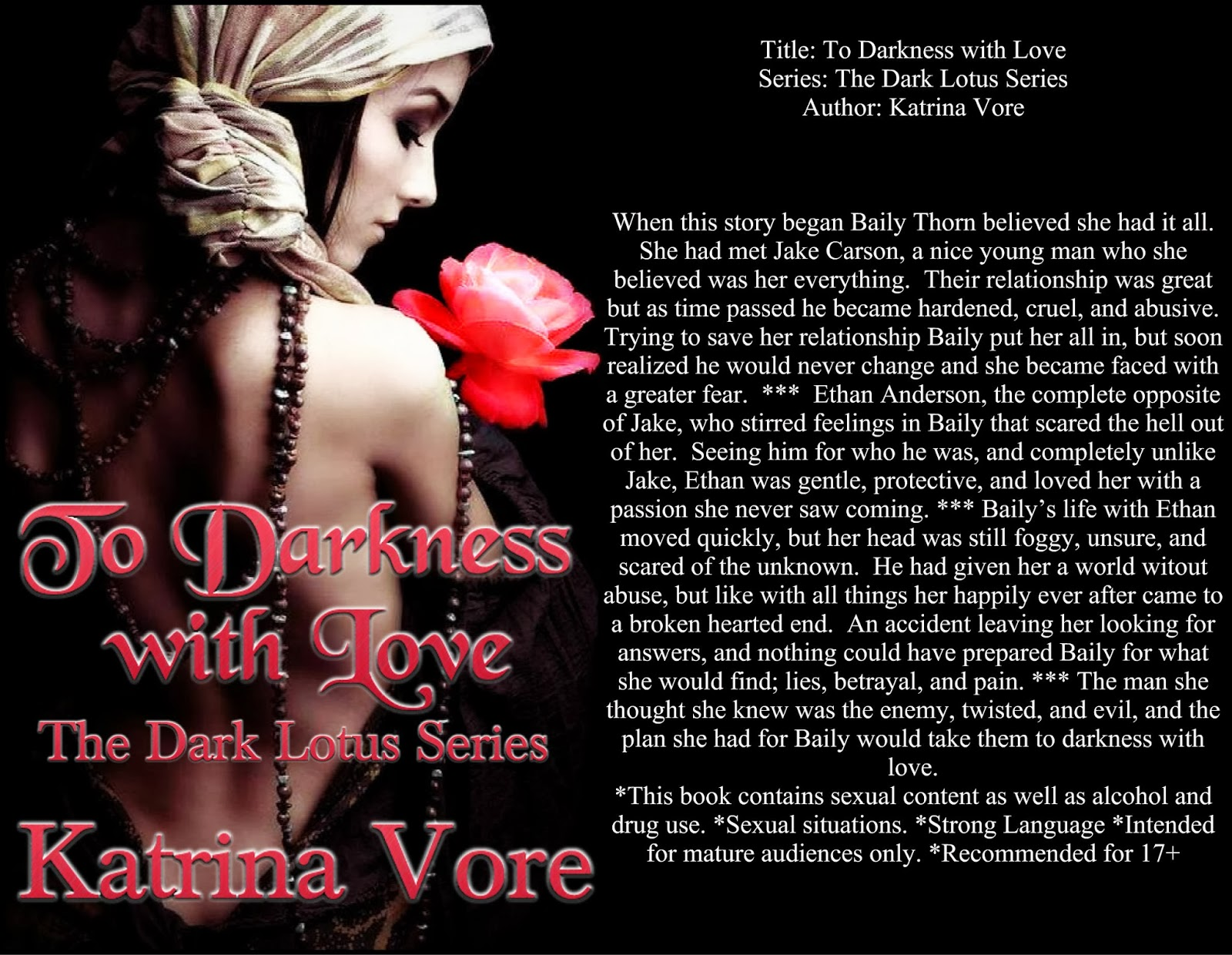 book cover art and synopses for To Darkness with Love by Katrina Vore