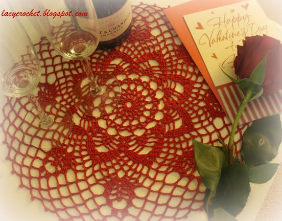 red doily for Valentine's Day