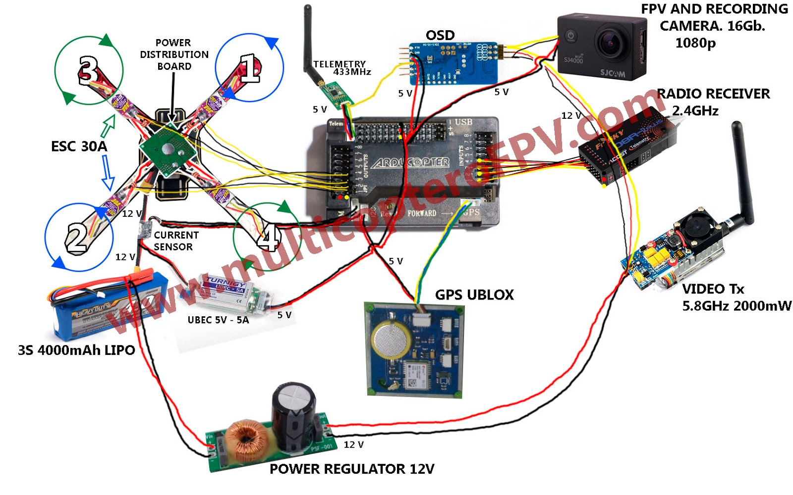 Apm Wiring Diagram Simple Diagrams Led Circuit Quad For Tricopter