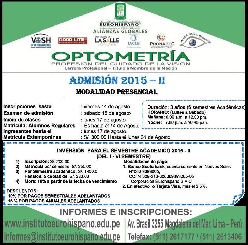 Estudia optometría 2015 - II