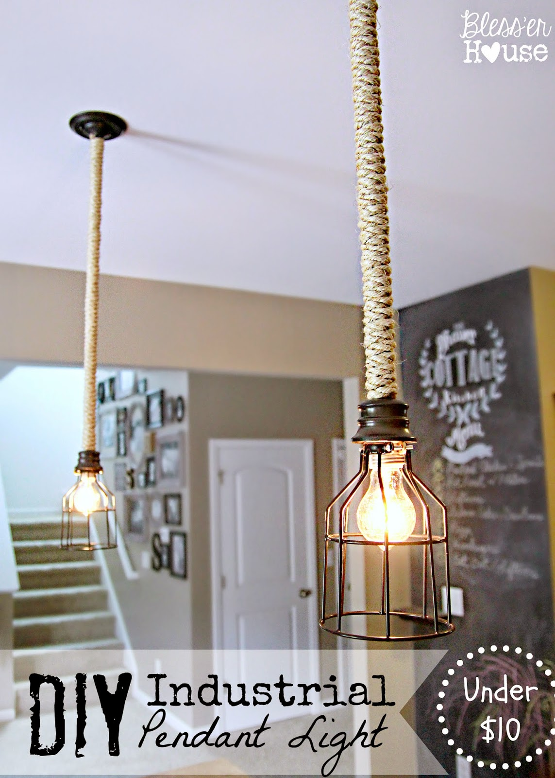DIY Industrial Pendant Light for Under $10 - Bless'er House on bar signs, bar pendants, bar neon, bar cabinet lighting, bar accessories, bar lamps, bar chandeliers, bar lighting fixtures, bar granite countertops,