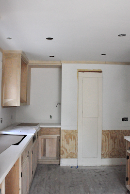 craftsman kitchen renovation progress. beadboards are being installed.