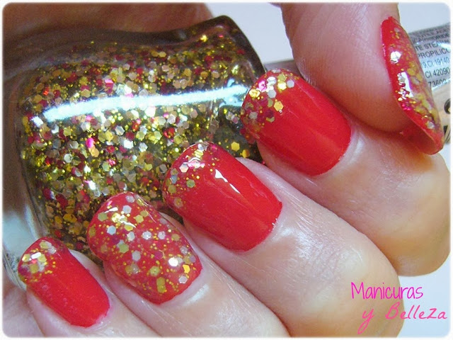 Manicura roja con glitter dorado y rojo de Yes Love nails nail art manicure uñas