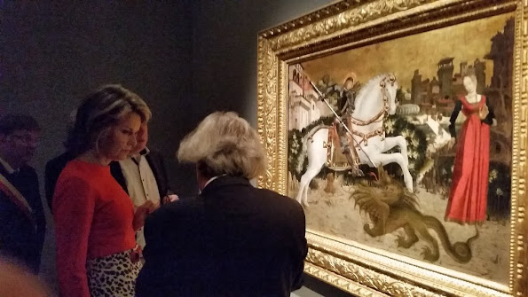 Queen Mathilde of Belgium visits the exhibition 'L'Homme, le Dragon et la Mort, La Gloire de Saint Georges' (The man, the dragoon and the Death, Glory of Saint Georges)