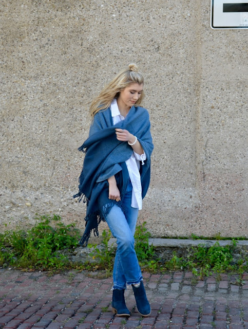 blanket scarf, denim, jeans, skechers, boots, fall, fall style, fall fashion, blue, oxford, women fashion, style blogger