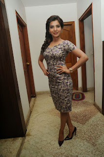 Actress Samantha Latest Pictures in Floral Short Dress at Attarintiki Daaredi Movie 25 Days Press Meet  0016