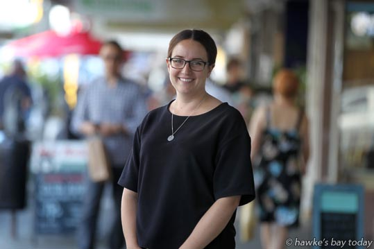 Zoe Barnes, manager, Napier City Business Inc, pictured in Hastings St, Napier. photograph