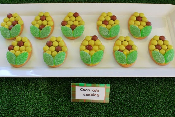 Easy Corn Cob decorated cookies at a Little Gardeners themed birthday party. www.lovethatparty.com.au