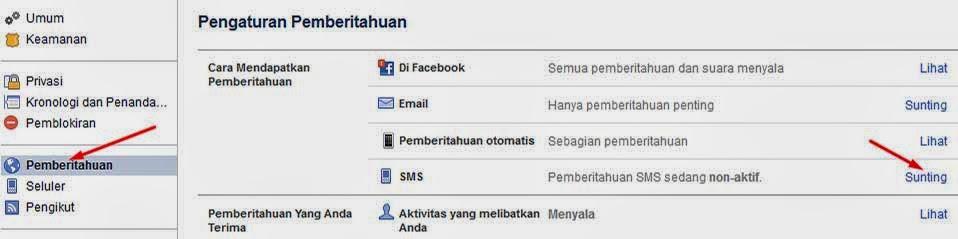 Cara Menghentikan pemberitahuan sms facebook langkah 2