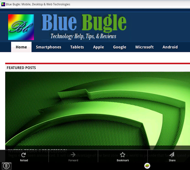 Firefox displaying BlueBugle