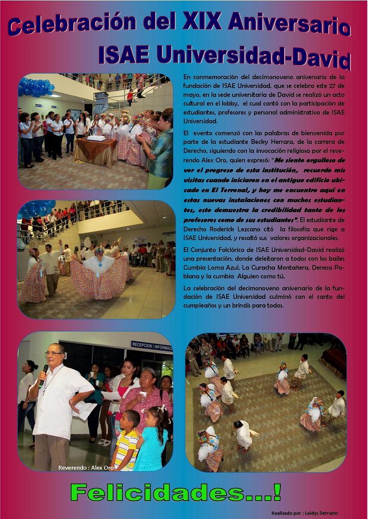 ... : Celebración del XIX Aniversario de ISAE Universidad, Sede David