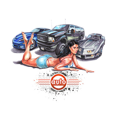 pin-up girl with cars