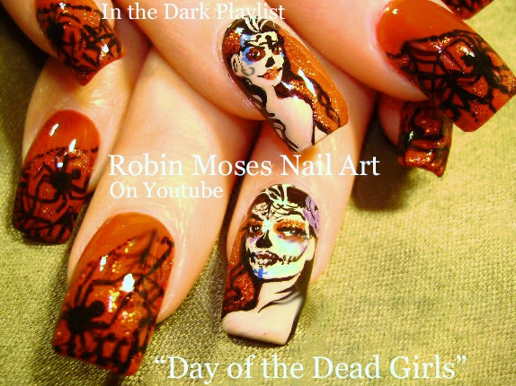 Robin moses nail art day of the dead nails halloween is rolling halloween nail art playlist easy nail art tutorials cute holiday nails and design ideas for beginners to advanced nail techs prinsesfo Images