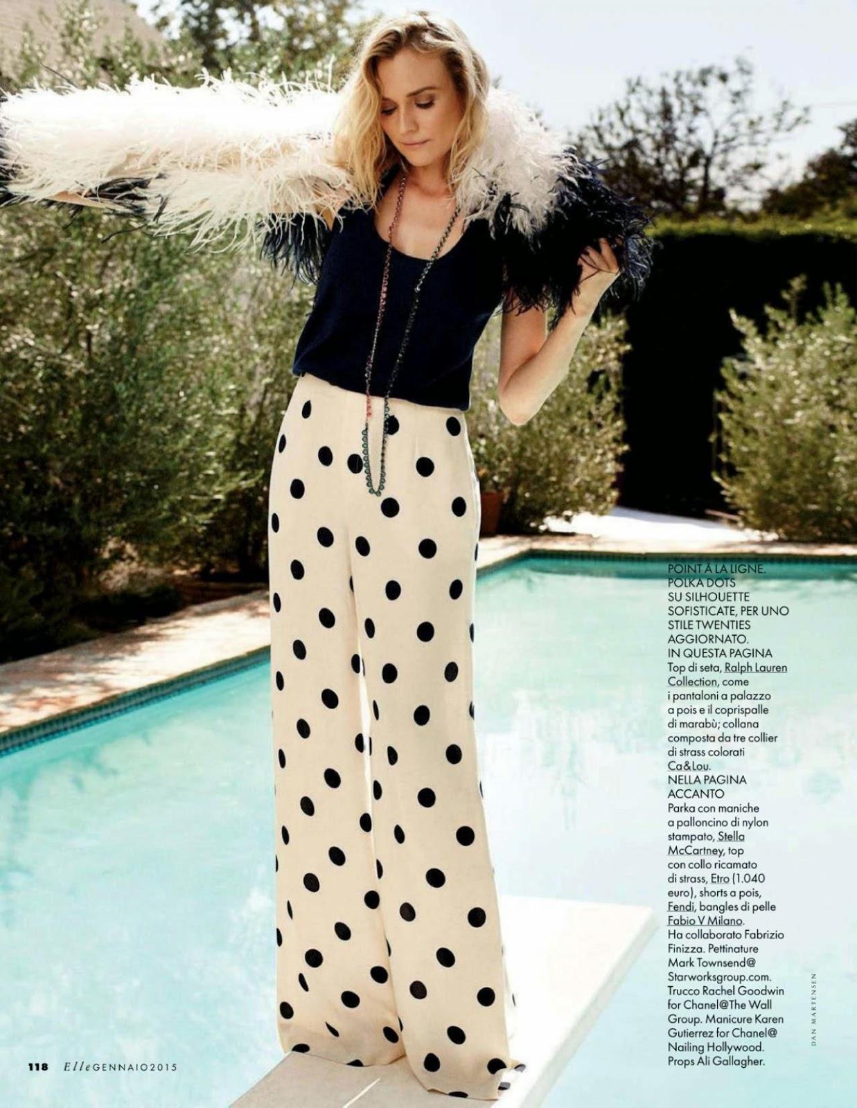 صور الممثلة الألمانية ديان كروغر في مجلة Elle الايطالية إصدار يناير 2015