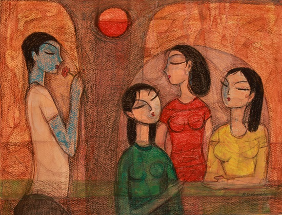 Together, painting by Ramakrishna Kamble - part of his portfolio on Indiaart.com