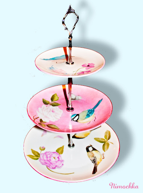 three tiered cake platter, china, hand painted, porcelain, birds