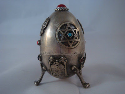 1878 RUSSIAN SOLID SILVER EGG OPENED.FULLY MARKED 84