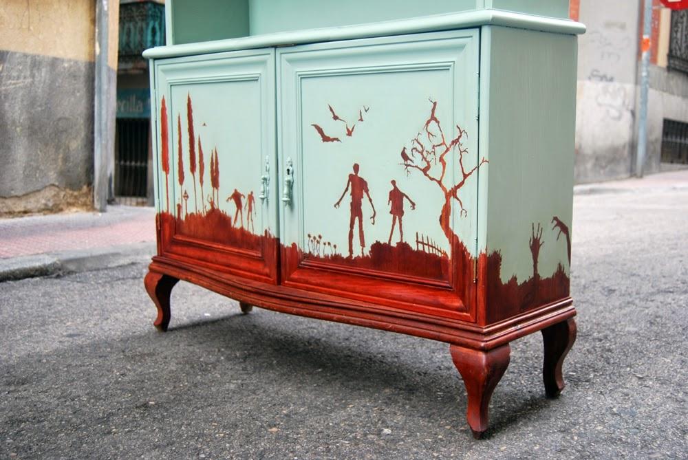 El mueble de los muertos vivientes la tapicera - Muebles de madera pintados a mano ...
