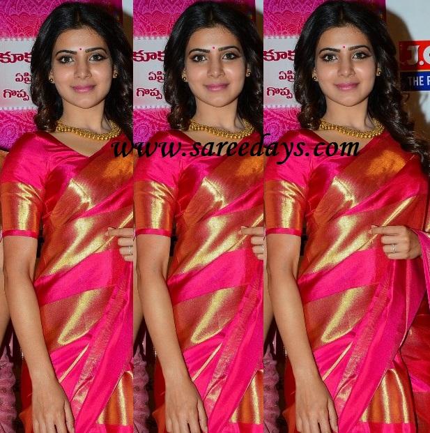 Latest saree designs samantha in pink silk saree samantha in pink silk saree altavistaventures Image collections