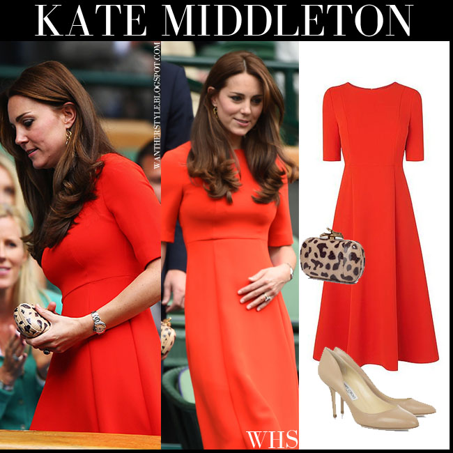 Kate Middleton Duchess of Cambridge in red short sleeve midi dress LK Bennett what she wore wimbledon july 8 2015