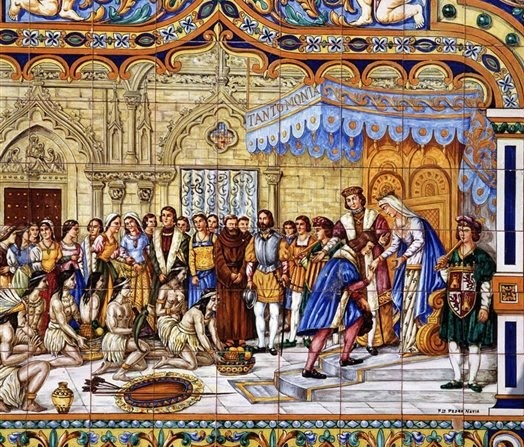 Los Reyes Católicos en el momento en que reciben a Cristóbal Colón tras su viaje a las Indias - www.historiadelascivilizaciones.com