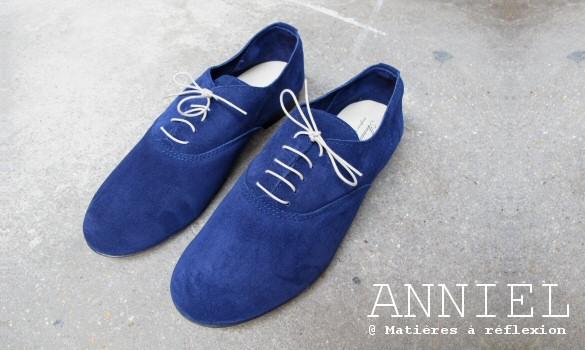 derbies homme daim bleu Anniel