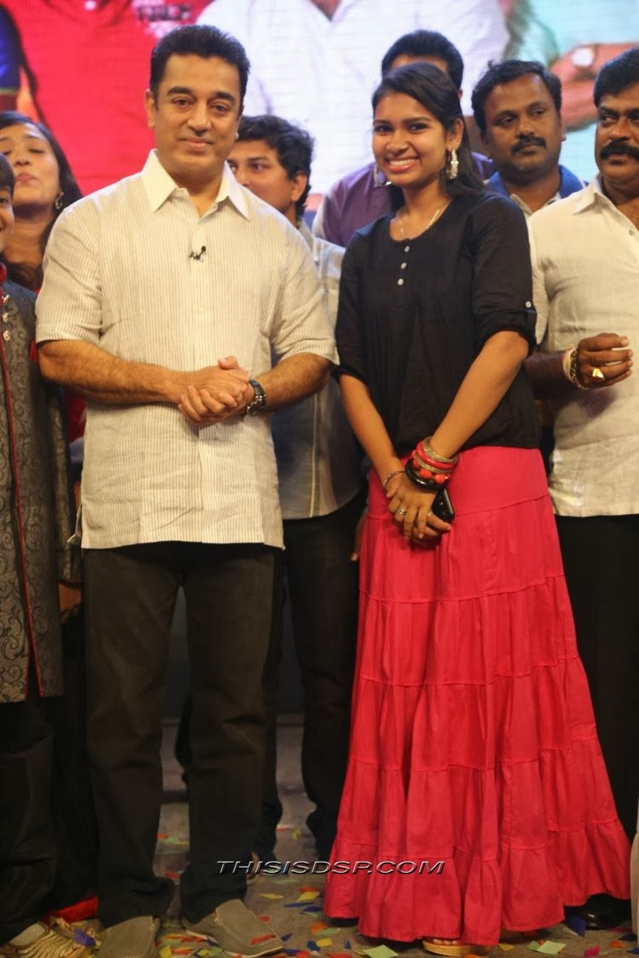 Kamal Hasaan with Singer Manasi at Bramman Audio launch