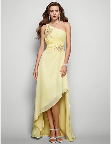Vestido de Gasa Amarillo Asimétrico