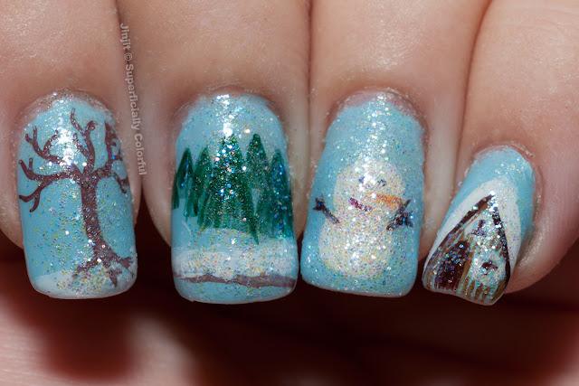Snow Landscape Christmas Nail Art Manicure