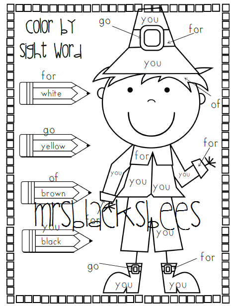 thanksgiving Pilgrim reviews worksheet is sight that by word a we  have This Word Color Sight  words  been