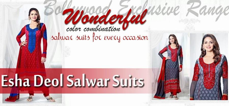 EshaDeolSalwarSuits2013 2014 wwwfashionhuntworldblogspotcom 0001 - Wonderful Color Combination Esha Deol Suits