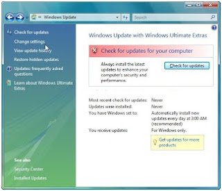 Menonaktifkan windows automatic update di windows vista