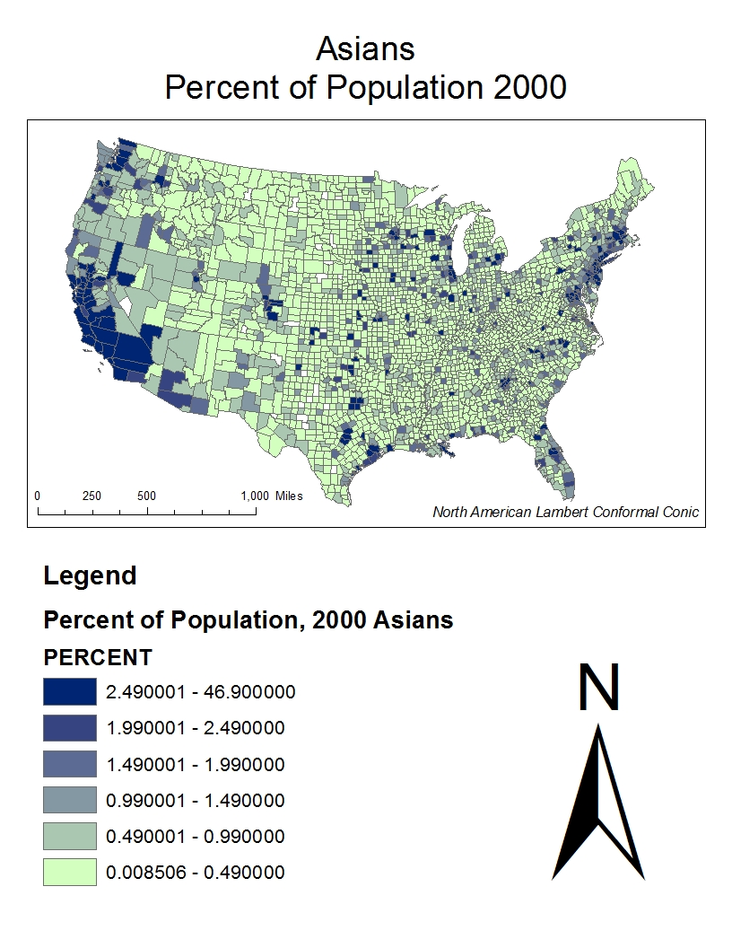 the above map displays asian populations per county in the united states as you can see a majority of them can be found in the western united states