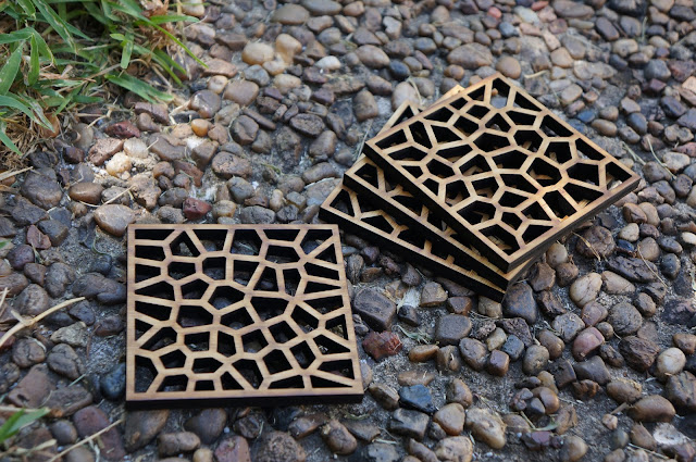 laser cut bamboo coasters with voronoi pattern