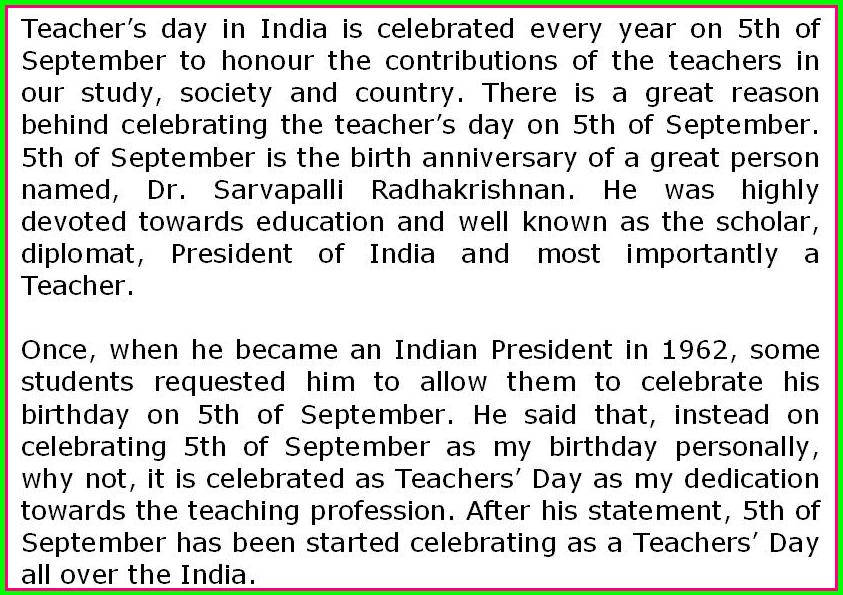 Th September, Teachers Day is important in every teacher and