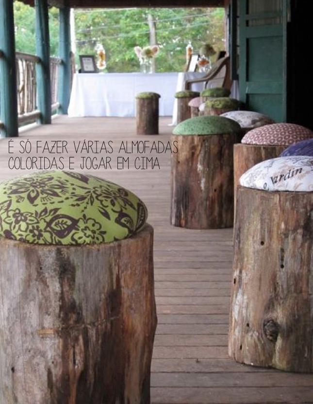 banco feito com tronco de madeira
