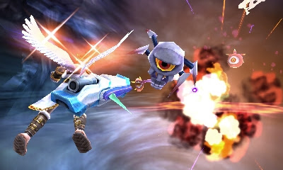Kid Icarus Uprising Sky Battle + blasting monsters in the sky