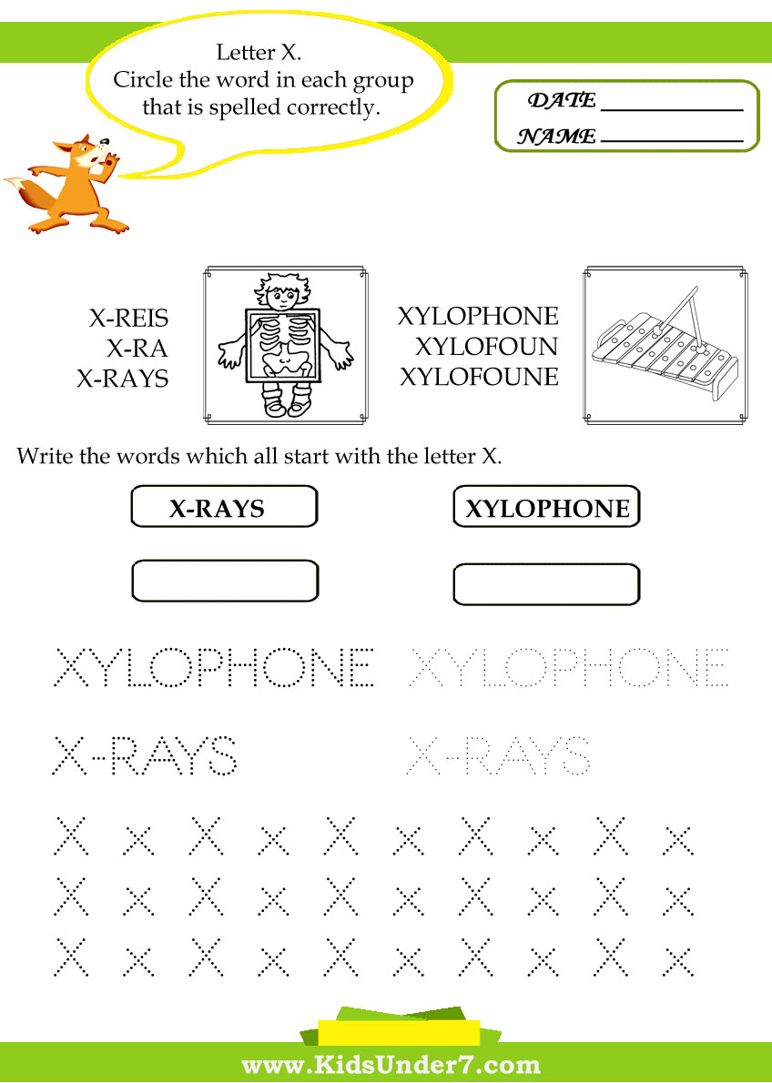 Worksheets X Words For Kids kids under 7 circle the correct spelling of x words words