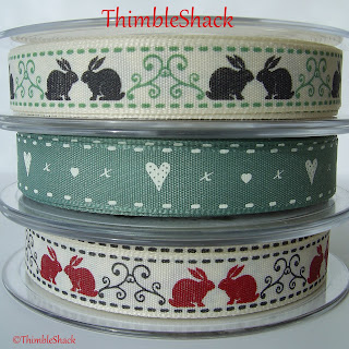 Berisford grosgrain ribbon, rabbits red, rabbits green, hearts &amp; kisses sage green / natural..