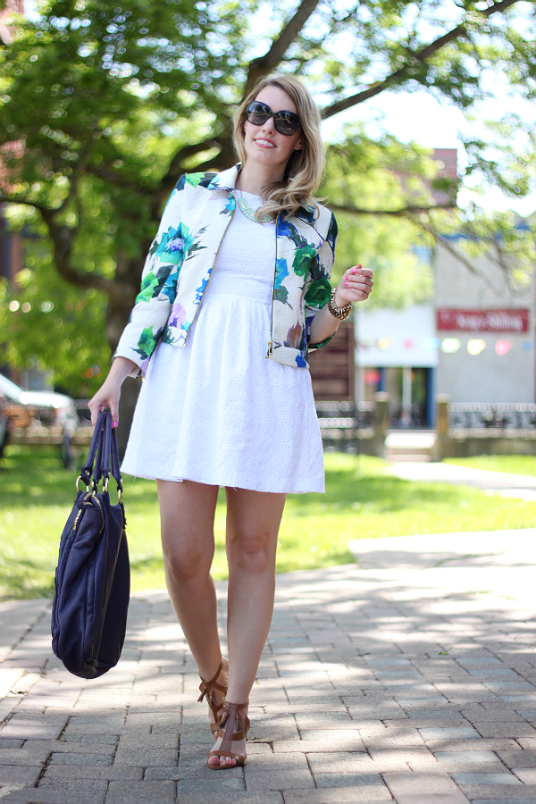 Zara Floral Watercolor Jacket, Little White Dress, White Summer Eyelet Dress, Tan Heeled Sandals