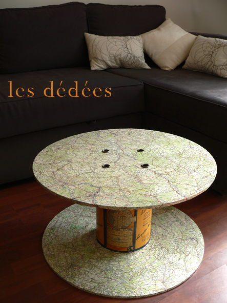 Les dedees vintage recup creations table basse une bobine a la carte - Table basse bobine bois ...