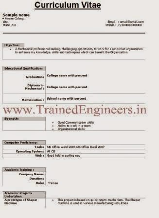Download Resumes Format For Trainee Engineers Type 2 - Mechanical ...