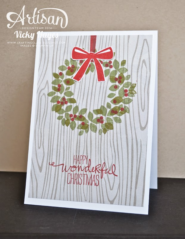 Stampin' Up's Wondrous Wreath looks great stamped onto designer paper