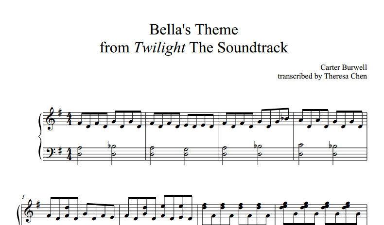 Horsegirl15 Sheet Music and Notes: Bella's Lullaby