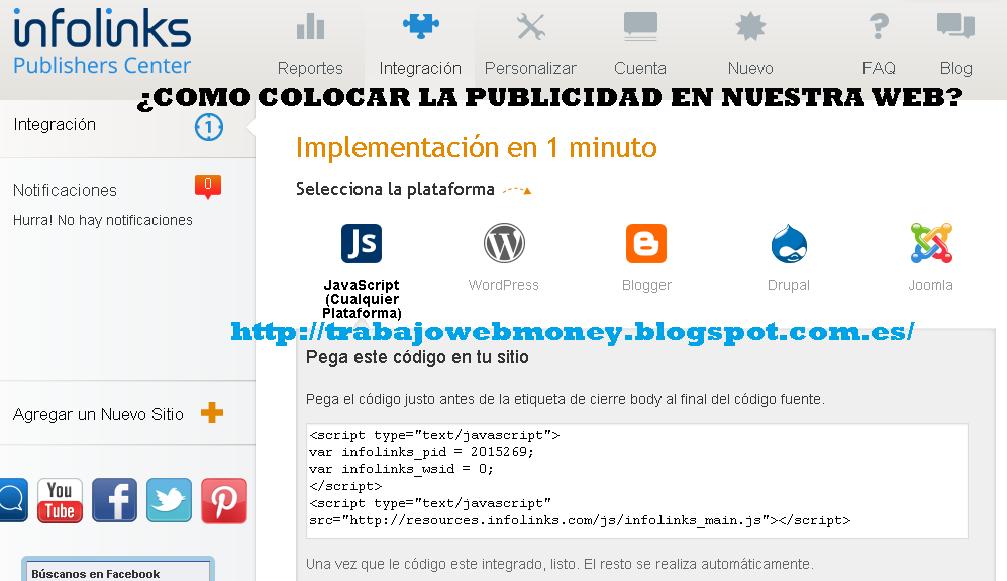 COMO COLOCAR INFOLINKS EN MI PAGINA WEB