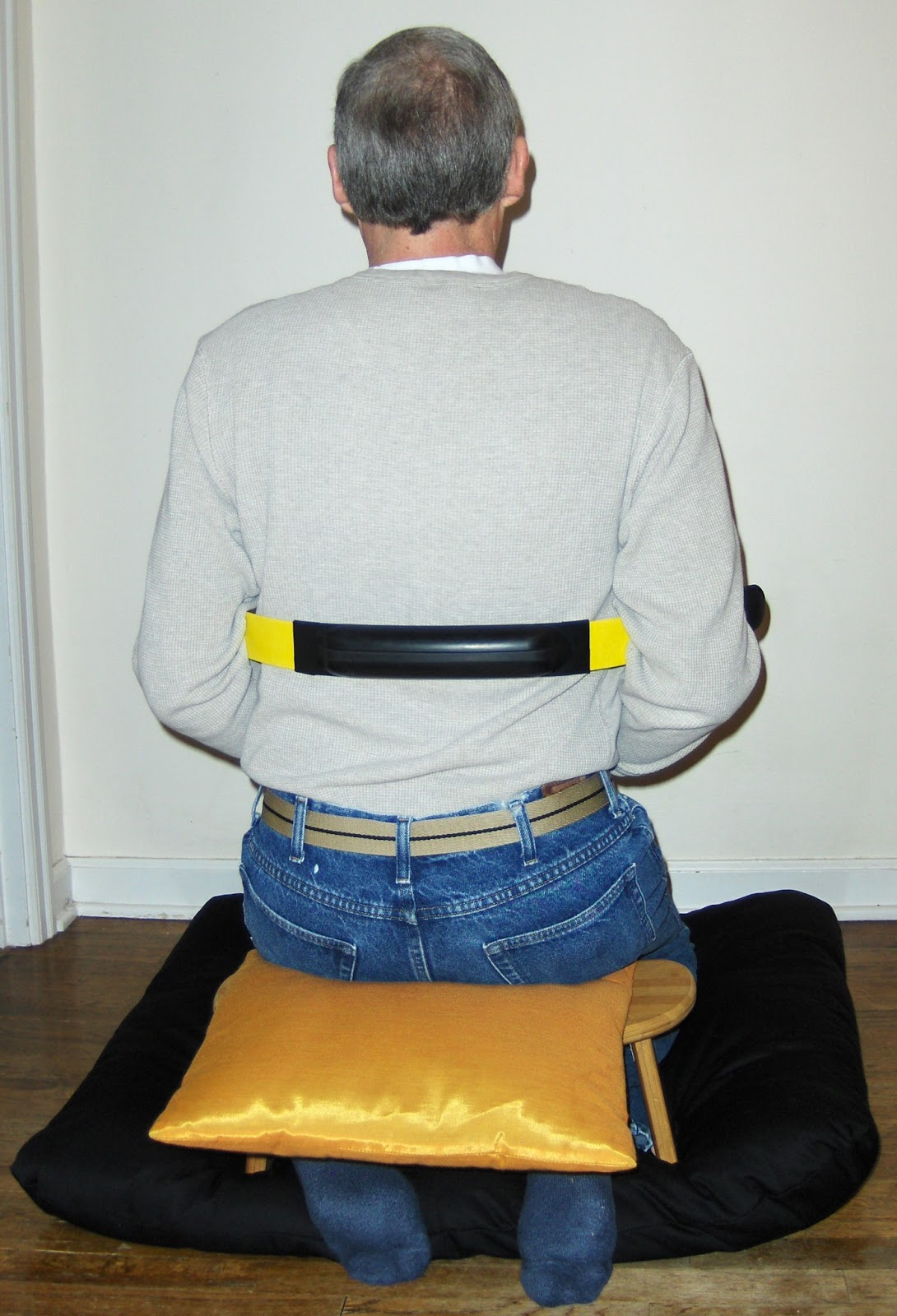 Back view of sitting with the BodyBlade